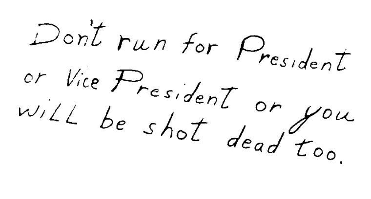 A letter sent to Sen. Edward M. Kennedy in 1968 after his brother, Robert, was assassinated.