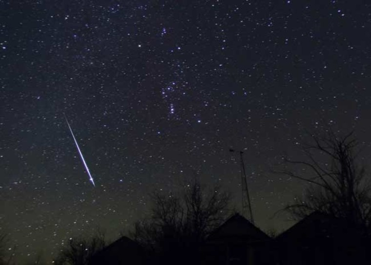 This Geminid meteor was photographed by Alan Dyer from Gleichen, Alberta, Canada on Dec. 12, 2004.