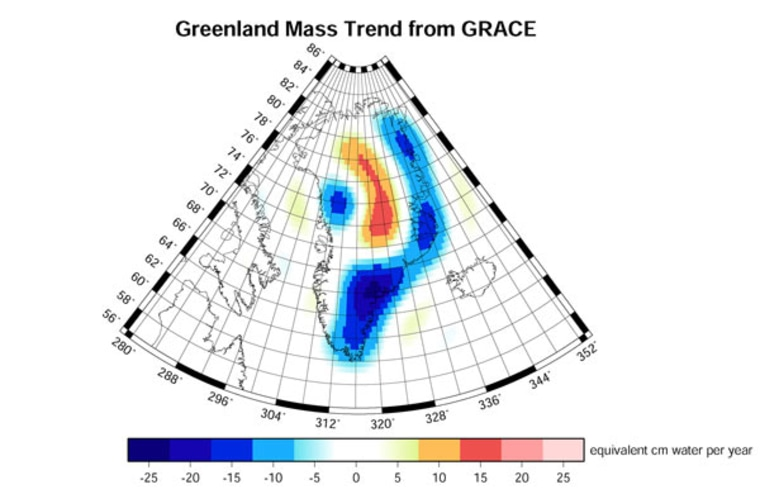A new study using fossils and sediment from 125,000 years ago says the ice sheets in Greenland and Antarctica are likely to melt faster, raising sea levels more than earlier predicted. This NASA satellite data shows how Greenland's ice sheet changed between 2003 and 2005. Low coastal regions (blue) lost three times as much ice per year from excess melting and icebergs than the high-elevation interior (orange/red) gained from excess snowfall.