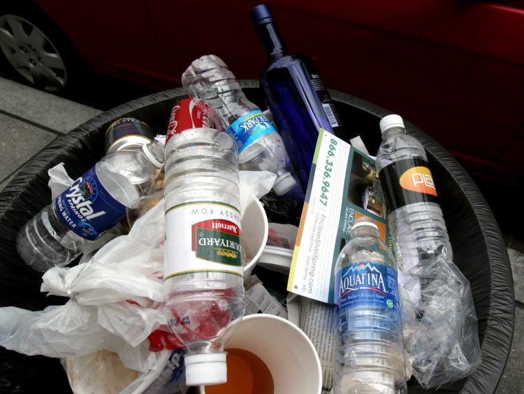 Image: Discarded water bottles
