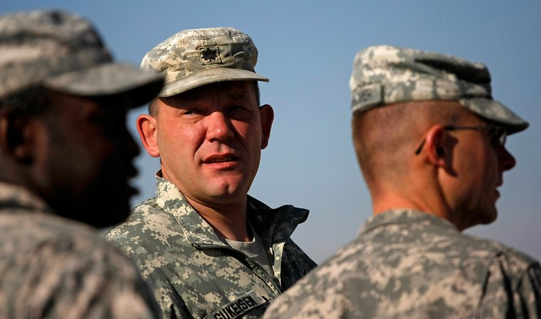 Lt. Col. Thomas B. Gukeisen talks to his men at the Altimur Forward Operating Base in Logar province, Afghanistan. Gukeisen, who commands 600 soldiers, is operating by his own ideas about counterinsurgency warfare.