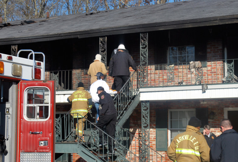 Image: Apartment fire in where nine people were killed