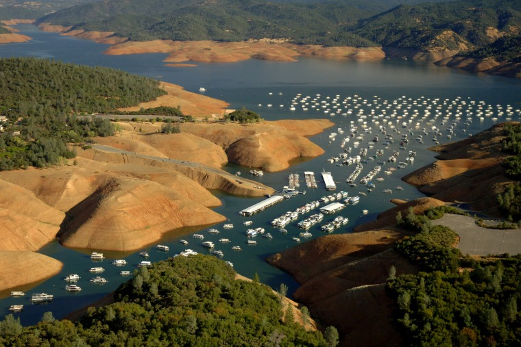 Lake Oroville in Northern California is a key water reservoir that's been low in recent years. This view is from Sept. 16.