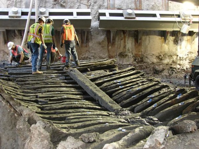 Image: Timbers of ship uncovered at World Trade Center site