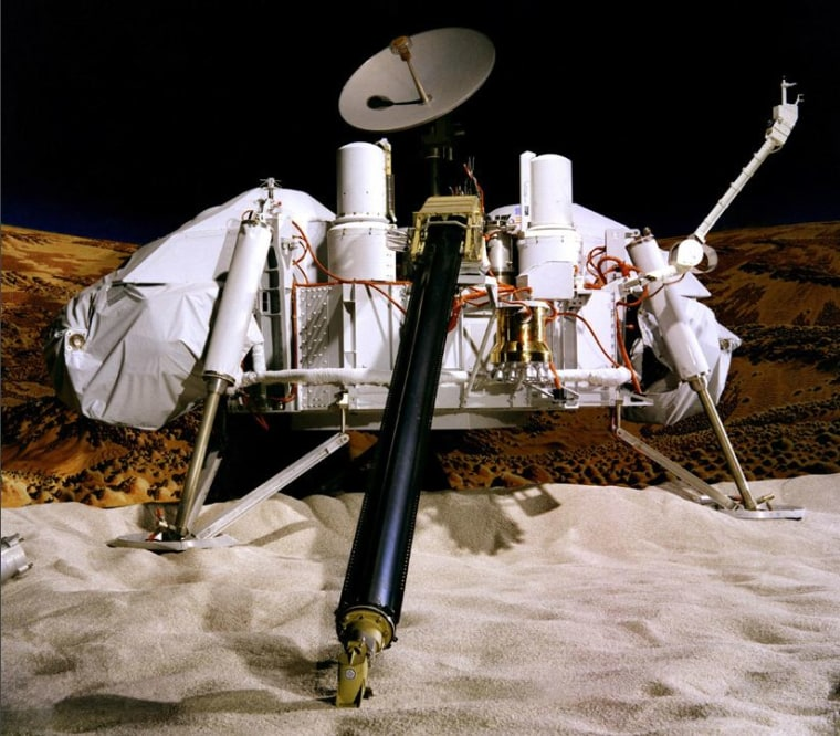 The Viking 1 Lander, illustrated in this model, touched down on the western slope of Mars' Chryse Planitia (the Plains of Gold) on July 20, 1976.