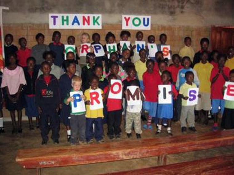 Orphans from a Zambian orphanage greet Terry Meeuwsen's Orphan's Promise in August.