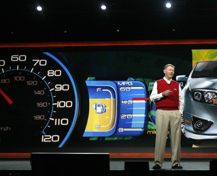 Image: Mulally, President and CEO of Ford Motor Company, delivers his keynote speech at the 2010 International Consumer Electronics Show (CES) in Las Vegas