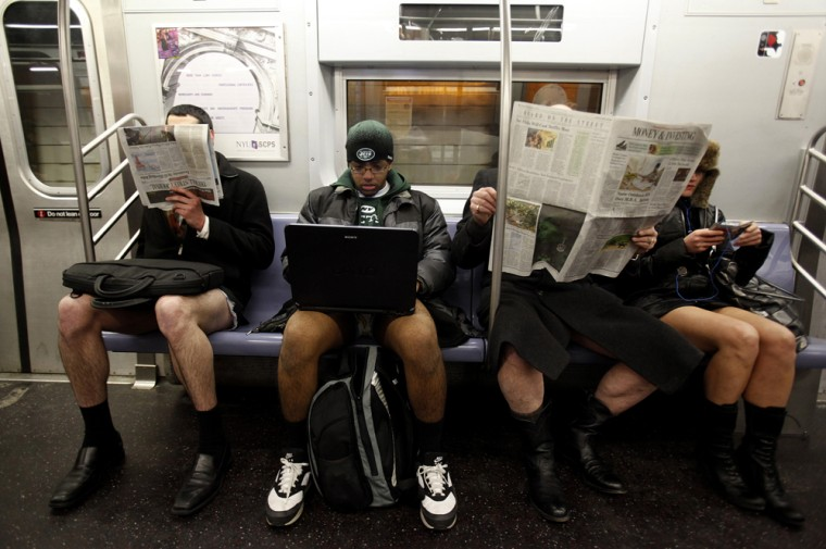 Image: People take part in the 9th Annual No Pants Subway Ride in New York City