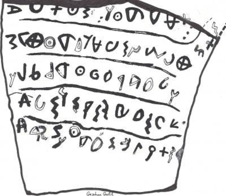 A shard of pottery bearing ancient Hebrew text, shown in this drawing, provided evidence that the site where it was found was known as Neta'im in biblical times.