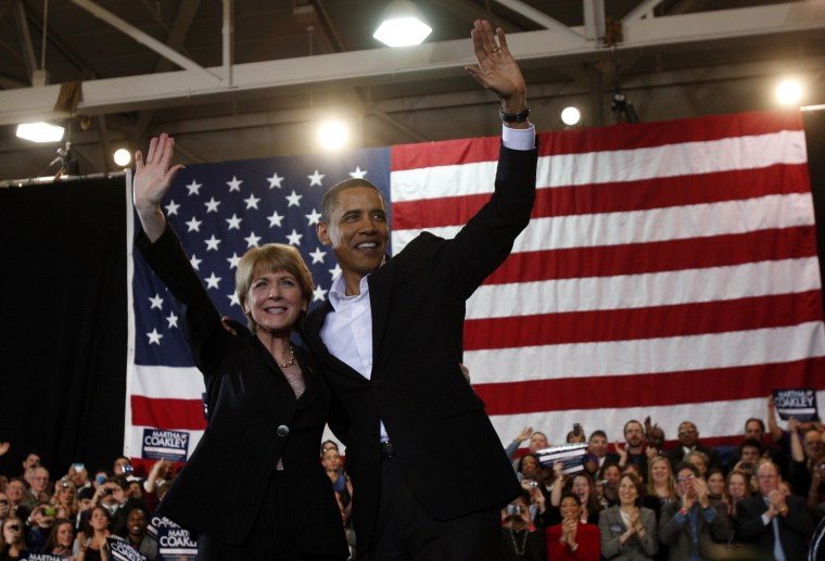 Image: U.S. President Barack Obama attends a campaign rally for U.S. Senate candidate Attorney General Martha Coakley at Northeastern University in Boston