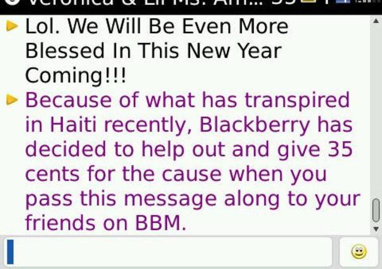 Image: BlackBerry Messenger text message