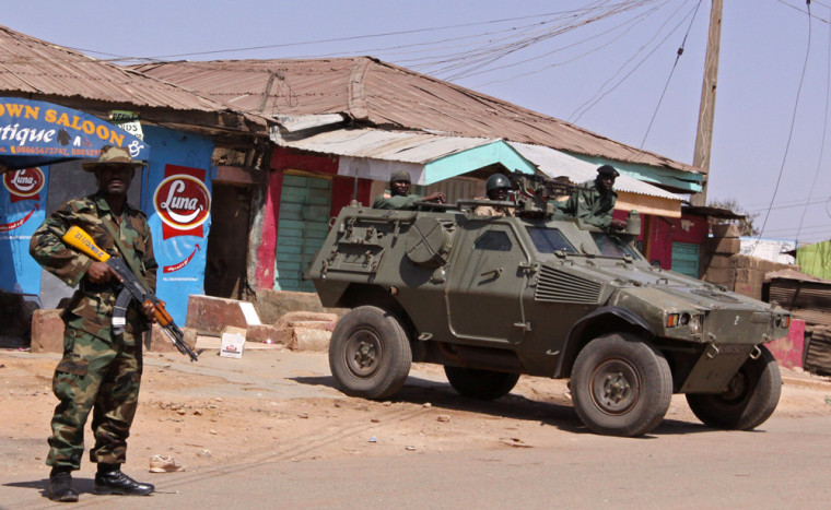 Image: Nigerian troops seen as they provide security at Jos