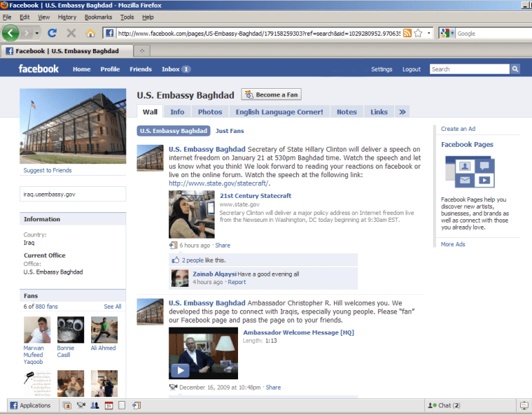 The U.S. Embassy in Baghdad's Facebook page had over 800 fans as of Thursday.