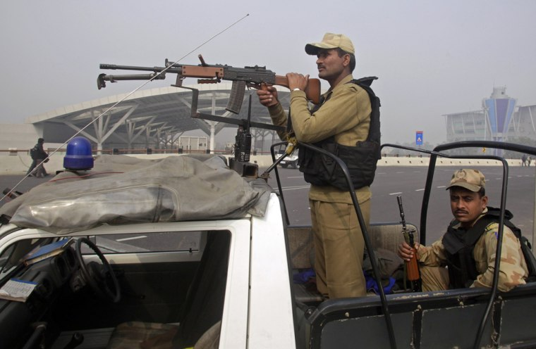 Image: Security personnel at the domestic airport in New Delhi, India