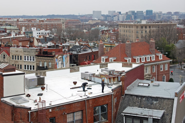 Image: White roof under construction in Washington, DC