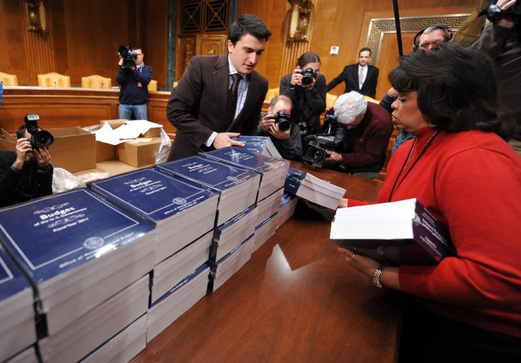 Image: Copies of Obama's budget