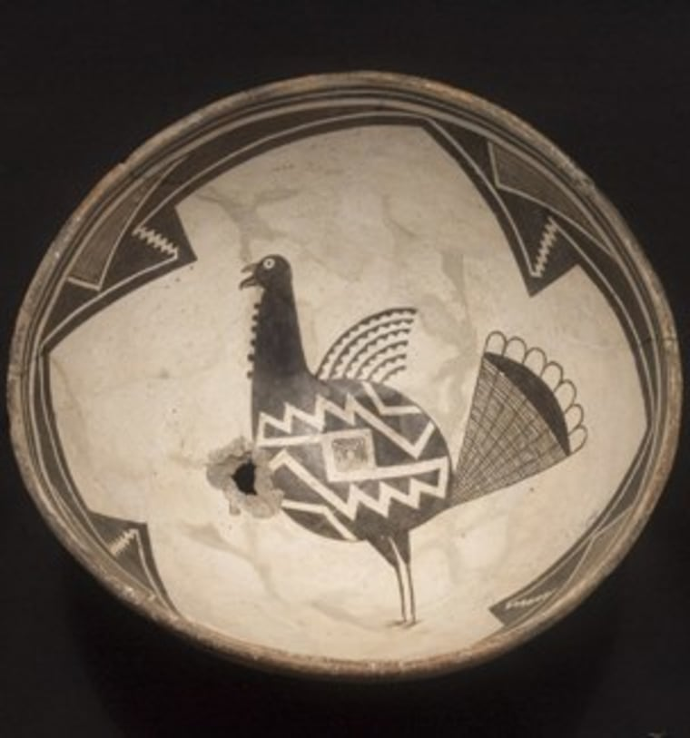 Domestic turkeys were initially raised for their feathers; however, around the year 1100, Native Americans began to rely on these birds as a food source. This Classic Mimbres bowl from the collection of The Amerind Foundation depicts a turkey.