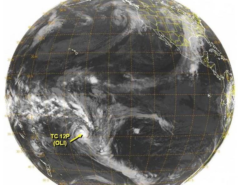 This satellite image shows Tropical Cyclone Oli on Thursday.