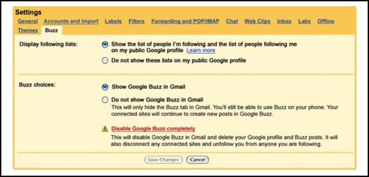 Image: Google Buzz settings