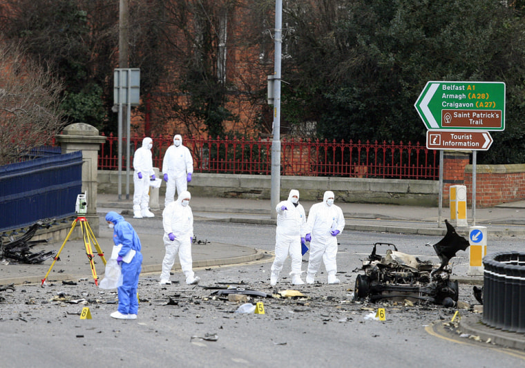 Image: Damage from a car bomb that exploded in Northern Ireland