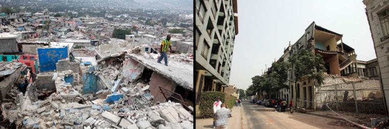 Image: Earthquake damage in Haiti and Chile