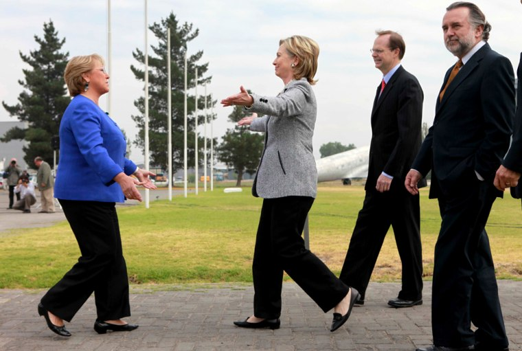 Image: Chilean Michelle Bachelet greets Image: Hillary Rodham Clinton