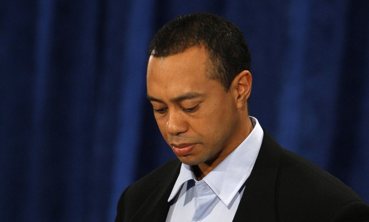 """Image: Golfer Tiger Woods apologizes for """"irresponsible and selfish behavior"""" during his first public statement to a small gathering of reporters and friends at the headquarters of the U.S. PGA Tour in Ponte Vedra Beach, Florida."""