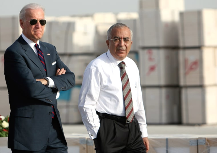 Image: U.S. Vice President Joe Biden walks with Palestinian Prime Minister Fayyad during a tour in Bethlehem