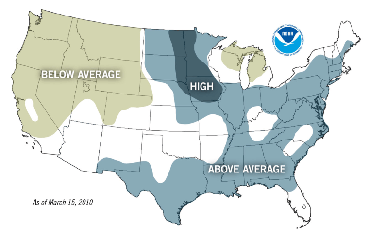 The National Weather Service produced this map of the risk of flooding this spring.