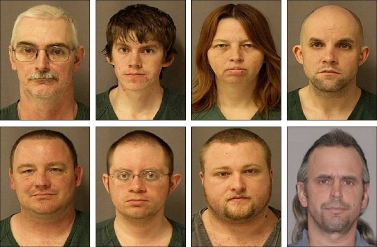 Suspected in a conspiracy to attack police officers are, from left to right, top row: David Stone, Sr.; David Stone, Jr.; Tina Stone andJacob Ward. Left to right, bottom row: Michael Meeks; Joshua Clough; Kristopher Sickles and Thomas Piatek.