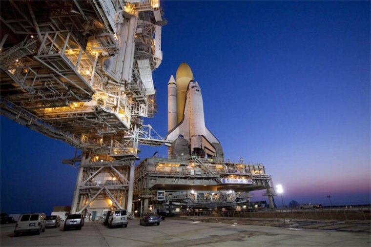 Morning breaks over Launch Pad 39A at NASA's Kennedy Space Center in Florida following the arrival of space shuttle Atlantis in preparation for its final flight, the STS-132 mission in May 2010.