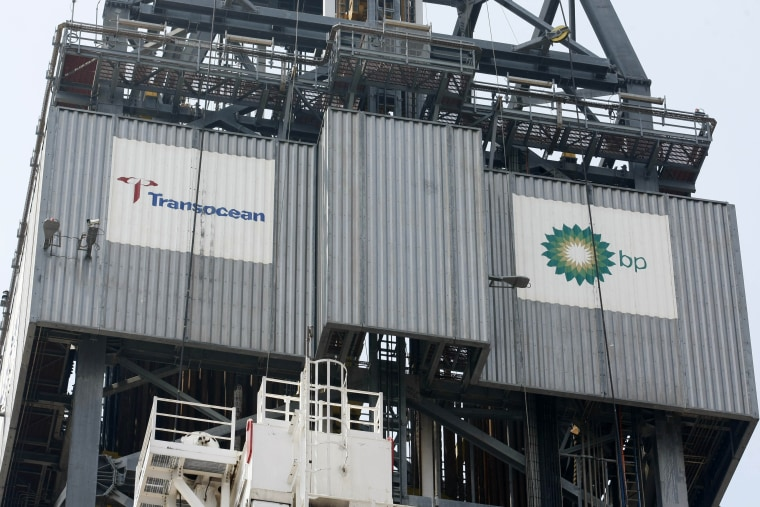 Image: The logos of Transocean and BP Plc are seen on the derrick of the Development Driller III in the Gulf of Mexico