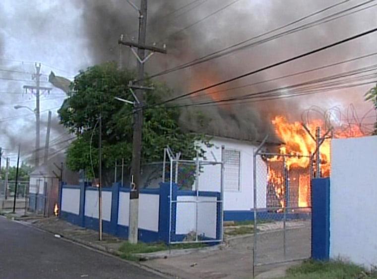 Image: Police station burning in West Kingston