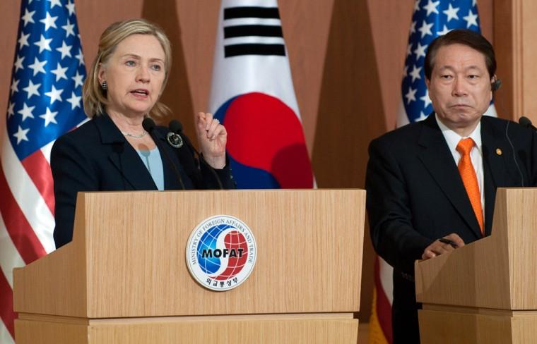 Image: Hillary Clinton, Yu Myung-hwan