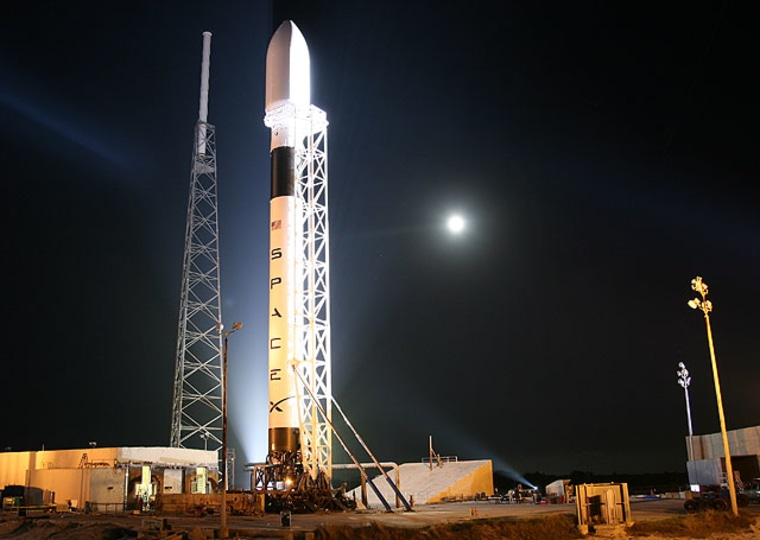 SpaceX's Falcon 9 rocket stands tall at Cape Canaveral Air Force Station in Florida during preparations for its maiden launch.