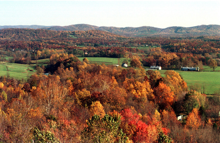 Image: Fall foliage from a scenic overlook on Interstate 64