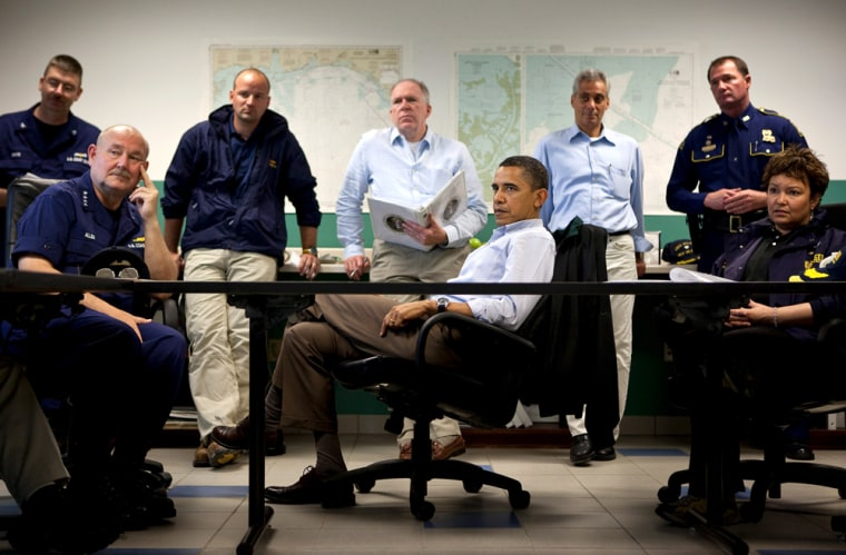 U.S. President Barack Obama listens during a briefing about the situation along the Gulf Coast following the BP oil spill. (Pete Souza/White House Handout)