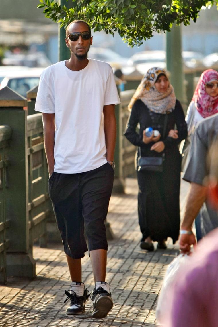 Image: Yahya Wehelie, from Fairfax, Virginia, walks in Cairo, Egypt