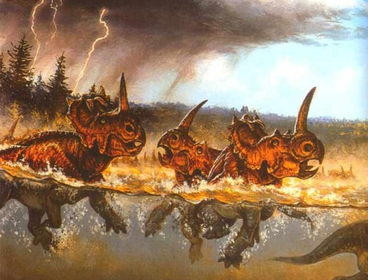 Image: Painting of dinosaurs drowning