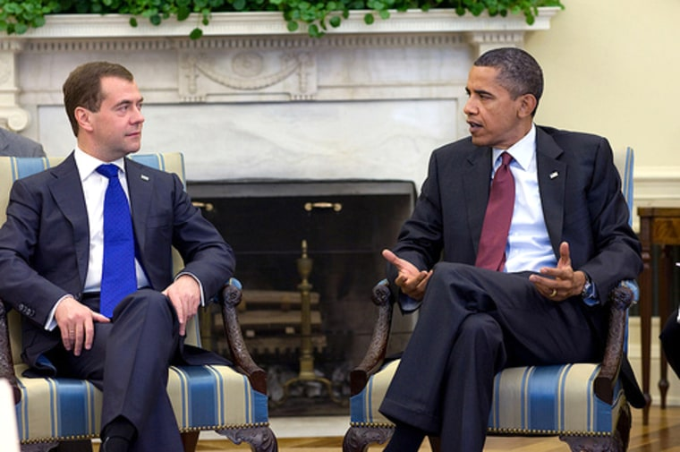 President Barack Obama holds a bilateral meeting with President Dmitry Medvedev of Russia in the Oval Office, June 24.