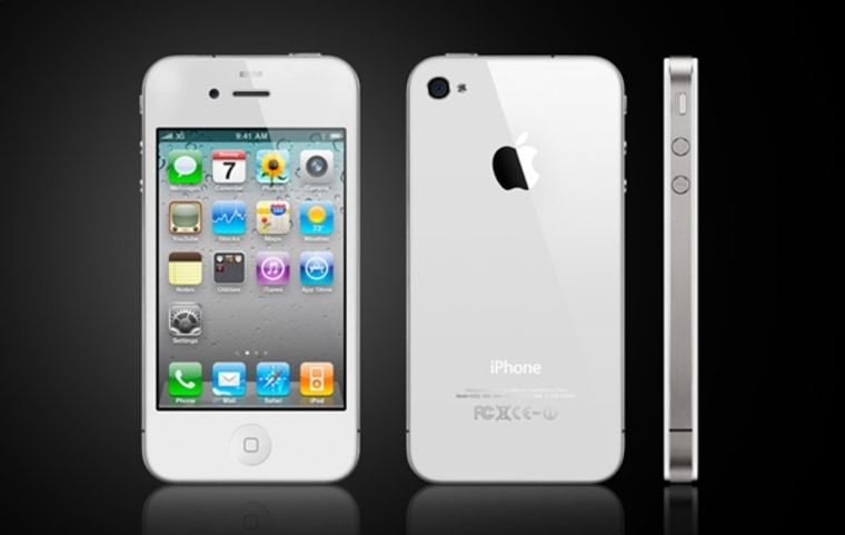Image: White iPhone 4 shown front and side