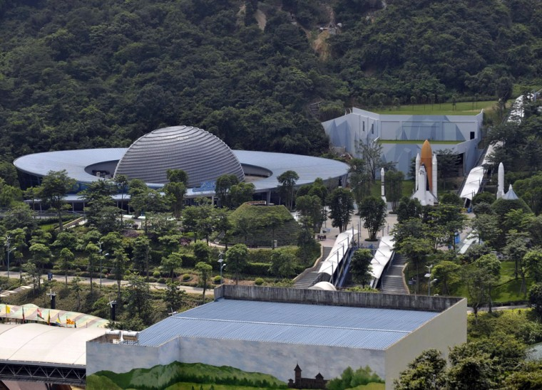 Image: A view of the space-themed amusement park Overseas Chinese Town East