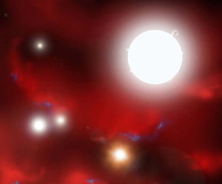 The first primordial stars began as tiny seeds that grew rapidly into stars one hundred times the mass of our own Sun. Seen here in this artist impression, swirling clouds of hydrogen and helium gasses are illuminated by the first starlight to shine in the universe.