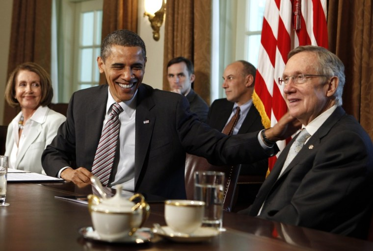 Image: U.S. President Barack Obama meets with Congressional bi-partisan leaders in the Cabinet Room of the White House in Washington