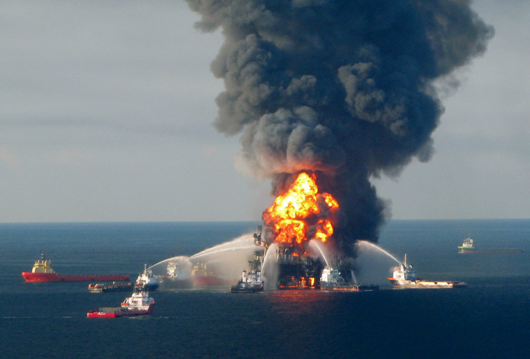 Image: Fire boat response crews battle the blazing remnants of the off shore oil rig Deepwater Horizon, off Louisiana
