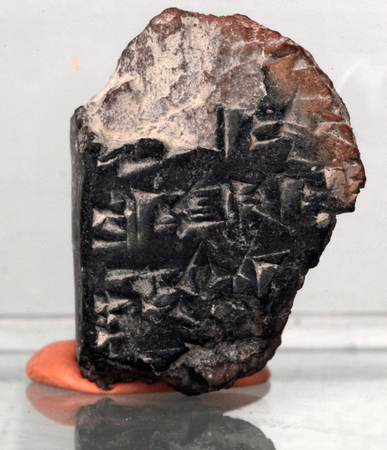 """Archaeologists say they have discovered a clay fragment from the 14th century B.C. that includes a partial text including the words """"you,"""" """"them,"""" and """"later."""""""