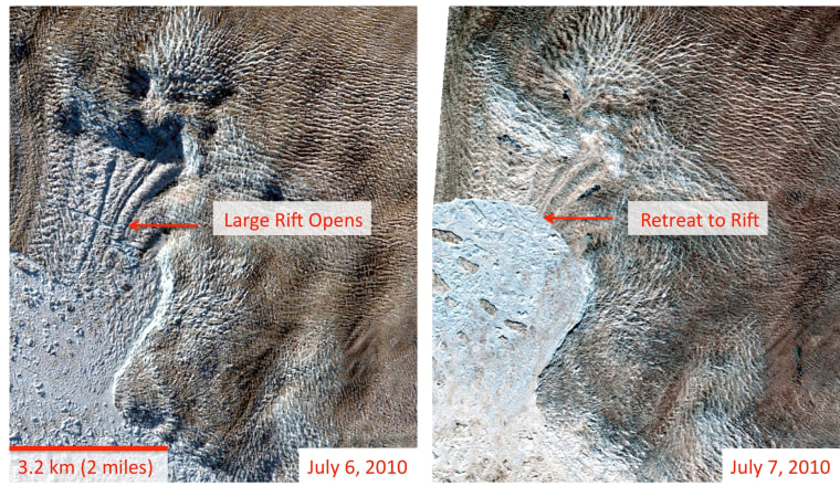 These satellite images show before and after views of the calving on Greenland's largest glacier in July 2010.