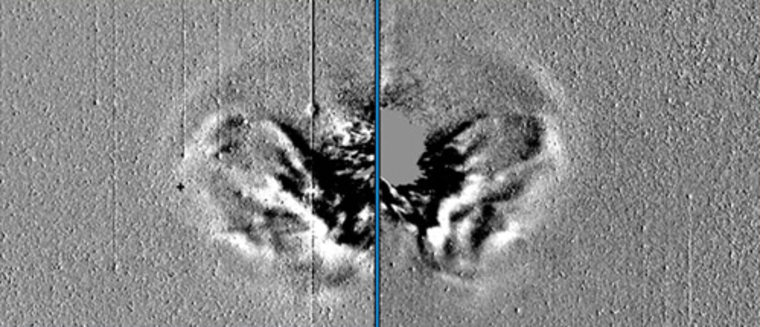 These twopanels are NASA spacecraftSTEREO images of the April 3, 2010 solar coronal mass ejection about eleven hours after its inception, as viewed from STEREO-A and STEREO-B respectively.