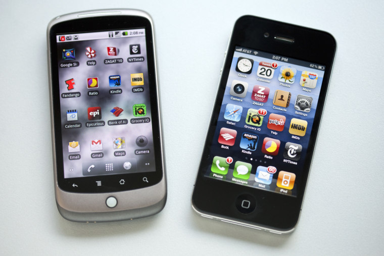 Android — the latest version of which is running on this Nexus One by Google and HTC (left) — now has many key apps previously found only on the iPhone (right).