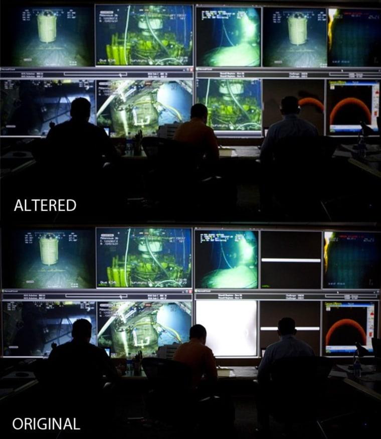Image: Original and altered photos of a BP command center